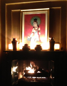 The fireplace in Nirvana's lounge area.  Photo by Karen Salkin.
