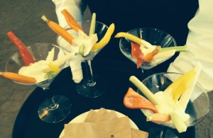 The classy veggie appetizers, shot through a golden filter.  Photo by Karen Salkin.