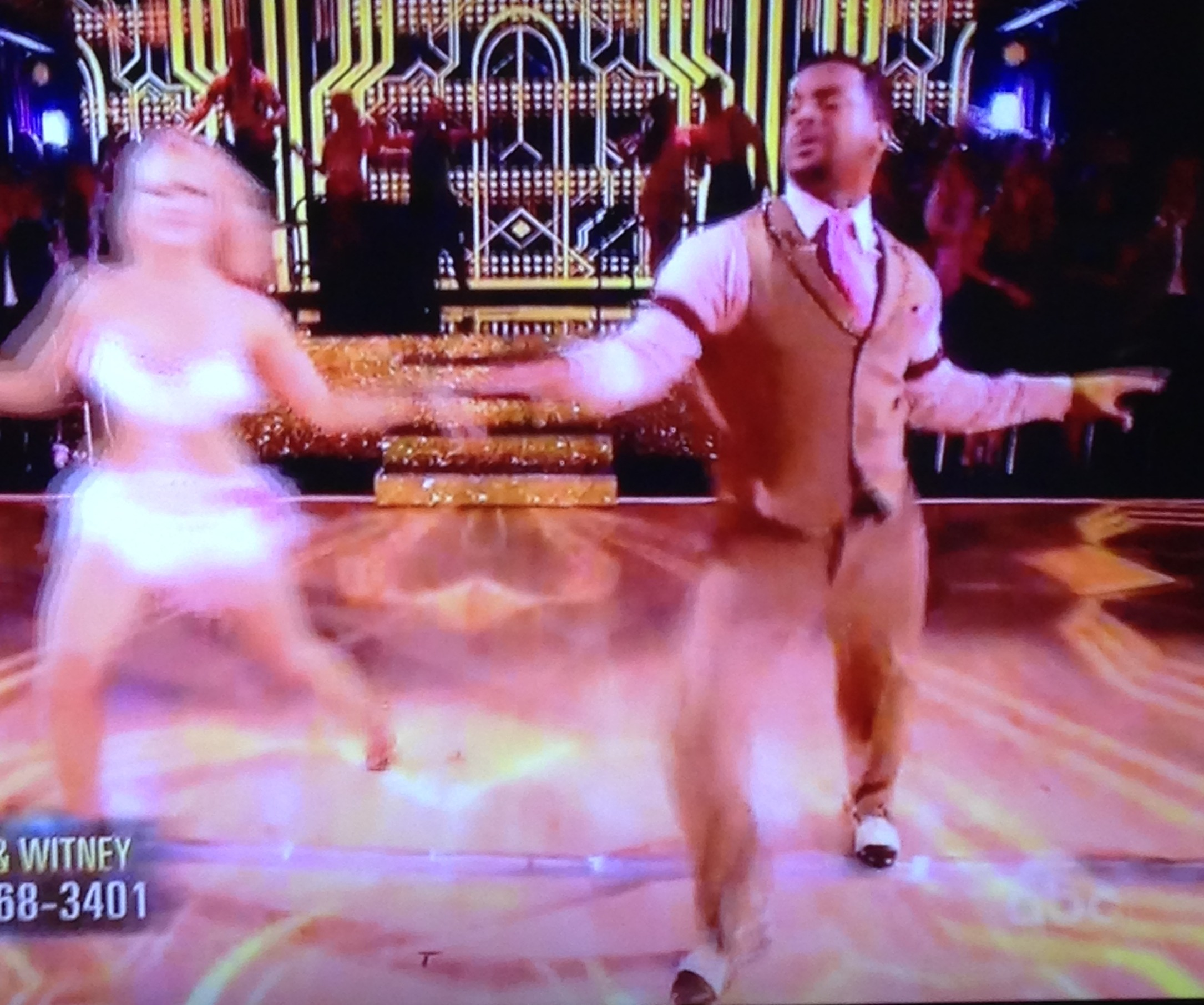 The fabulous dancing duo of Alfonso Ribeiro and Witney Carson.  Sorry, Witney, for the blur, but you were just moving so fast! Photo by Karen Salkin.