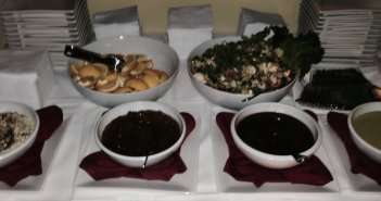 The salad and sauces table.  Please excuse the blur--I was in a rush to start eating!  Photo by Karen Salkin.