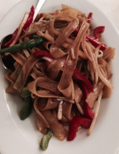 Vegetarian Flat Noodles.  Photo by Karen Salkin.