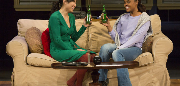 Angela Lin and Sharon Leal. Photo by Jim Cox.  See what I mean about that green and maroon outfit?