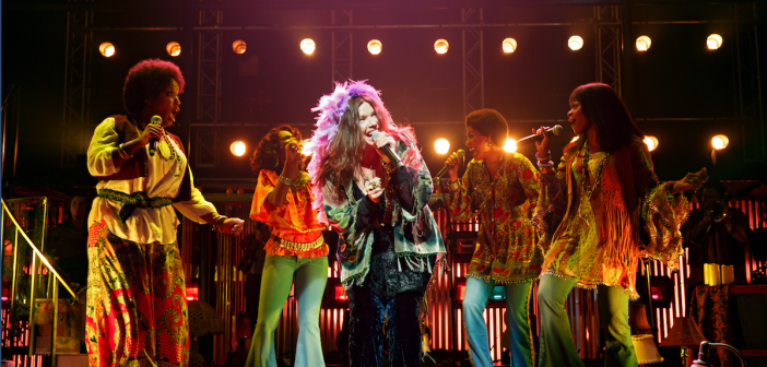 Mary Bridget Davies as Janis Joplin, front and center. Photo by Joan Marcus.