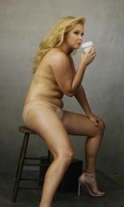 Amy Schumer, who claims to be a size 6! I really thought she did this shoot to proclaim that she doesn't care that she has those rolls, but, instead, it turns-out that she thinks she's thin! Oysh.
