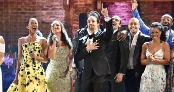 The Hamilton cast, closing out the 2016 Tonys.