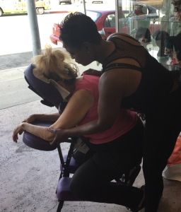 Crystal giving a magic massage to a guest. Photo by Karen Salkin.