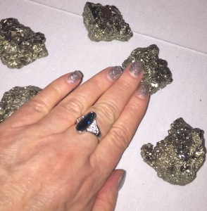 Karen Salkin's former mani (before she got them done at this suite,) matching the shiny Malibu rocks! Photo by Karen Salkin.