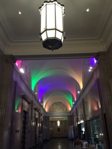 The Wallis ceiling, lit-up for Gay Pride Month. Photo by Karen Salkin.