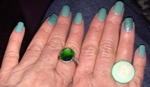 Karen Salkin's very basic 2017 St. Patrick's Day nails. (But notice that the ring fingers are a different shade of green, and sparkly, too.) Photo by Mr. X.