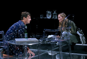 Augustus Prew and Jessica Collins.  This is the only photo that gives even a tiny glimpse into how fabulous the set is! Photo by Kevin Parry.