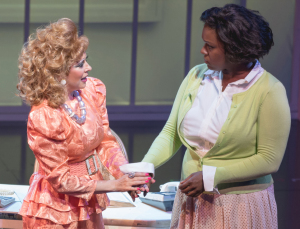 Kirsten Wyatt as Tammy Faye Bakker, and Deborah Joy Winans as CeCe Winans. Photo by Ben Gibbs.