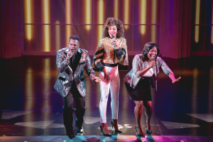 Juan Winans as BeBe Winans, Kiandra Richardson as Whitney Houston, and Deborah Joy Winans as CeCe Winans. Photo by Ben Gibbs.