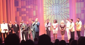 Marvin Winans, in the center, taking us to church! Photo by Karen Salkin.