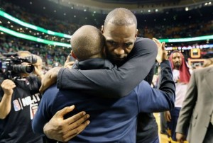 LeBron James embracing Isaiah Thomas, I'm assuming when their teams met after Isaiah's younger sister had died.