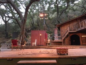 The lovely outdoor set, pre-show. Photo by Karen Salkin.