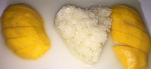 Mango with sticky rice.  (Do you think the heart-shape on the rice was because they love me?)  Photo by Karen Salkin.