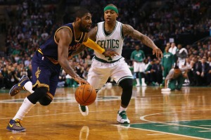 Kyrie Irving and Isaiah Thomas in their former teams' jerseys that will now be swapped next season.  So strange!