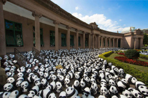"This is the perfect pic for my 1,600th column!  Why, you may ask?  Because it's entitled ""1600 Pandas In Hong Kong,"" and also features--wait for it--columns!!!!!!!  Loving it!"