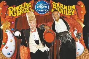 Bello, (on the left, with the Ringmaster on the right,) in one of the offical promo pix for the Ringling Bros. Circus!