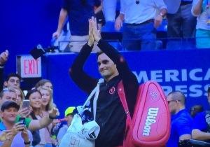 My beloved Roger Federer bidding farewell to the 2017 US Open.  Photo by Karen Salkin.