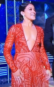 Gina Rodriguez.  Look at that awful chest area!  Photo by Karen Salkin.
