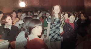 Yours truly (the girl sitting high up,) at my own fabulous Sweet 16, surrounded by my besties.  Photo by Martin Salkin.
