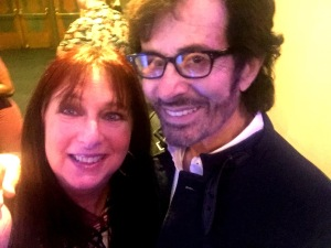 Karen Salkin (who is NOT wearing a tiara--that's just a big dress in the background,) and George Chakiris.  Photo by Karen Salkin.