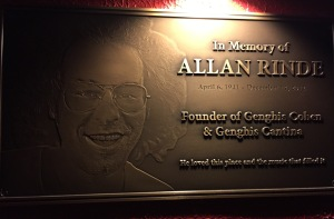 The plaque tribute to Allan Rinde.  Photo by Karen Salkin.