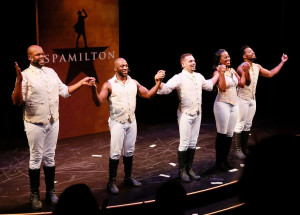 The main cast's opening night curtain call.  (L-R) Dedrick A. Bonner, Wilkie Ferguson III, William Cooper Howell, Zakiya Young, and John Devereaux.  Photo by Ryan Miller.