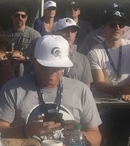 Joe Manganiello on the top left, James Van Der Beek on the extreme right, and creepy Gary Busey in the center, paying no attention  whatsoever to the game.  Photo by Karen Salkin.