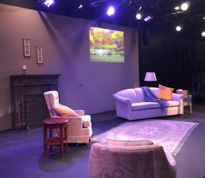 The set, with one of the projections on the wall.  Photo by Karen Salkin.