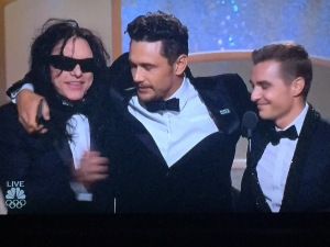 James Franco in the center, with his little brother, Dave Franco, on the right, and the maniac Tommy Wiseau on the left. Photo by Karen Salkin.