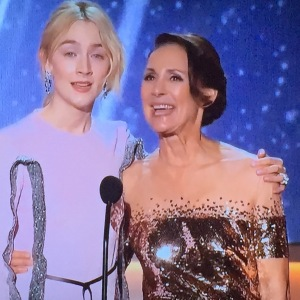 Laurie Metcalf on the right, with the great mesh on the top of her dress.  I left Saoirse Ronan in the pic, on the left, just because she's so lovely. Photo by Karen Salkin.