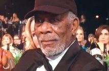 Morgan Freeman, wearing a baseball cap to get honored!  Shame. Photo by Karen Salkin.