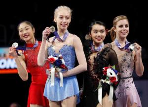 The 2018 Ladies medalists. (L-R) Silver medalist Mirai Nagasu, Champion Bradie Tennell, Bronze medalist Karen Chen, and Pewter medalist (yes, there IS such a thing,) Ashley Wagner.