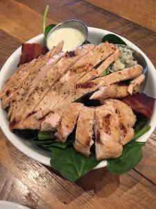 "The Spinach Cobb ""salad,"" which is just layered  salad ingredients!  Photo by Karen Salkin."