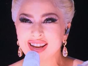 Lady Gaga's awful lipliner and new nose job. Photo by Karen Salkin.