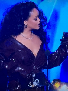 Rihanna's on-stage coat and gloves. Photo by Karen Salkin.