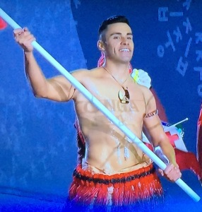 Pita Taufatofua oiled-up in the Opening Ceremony (in about 2 degrees!) Photo by Karen Salkin.