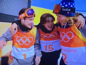 The happy Ski Halfpipe medalists! L-R: Alex Ferreira, Nico Porteous, and David Wis. Photo by Karen Salkin.