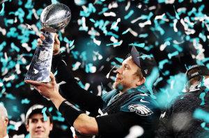 Victorious Eagles Super Bowl quarterback Nick Foles.