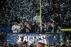 The Eagles on-the-platform post-game celebration.  But where was the actual team???