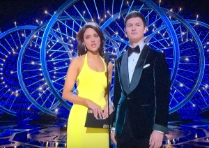 Two people I don't know, presenting awards at the Oscars!  Will wonders never cease?  But this girl looks the best of everyone!  That's my favorite dress of the night! Photo by Karen Salkin.