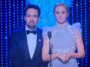 Lin-Manuel Miranda and Emily Blunt. Notice the head size disparity?  Photo by Karen Salkin.