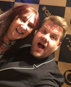 Karen Salkin and James Corden.  We finally found one thing that James Corden cannot do--he's a terrible photographer!  Photo by...James Corden! (The big one at the top of the page, where James Corden loves the story Karen Salkin is telling him, is by Lisa Politz.)