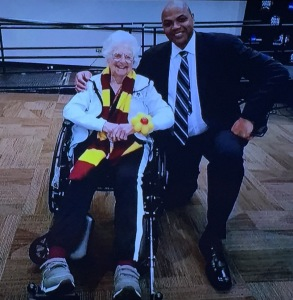 Charles Barkley getting his wish to meet Sister Jean. Photo by Karen Salkin.