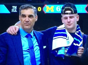 Villanova Coach Jay Wright with Finals MOP Donte DiVincenzo.