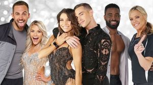 (L-R) Chris Mazdzer and Witney Carson, Jenna Johnson and Adam Rippon, Keo Motsepe and Jennie Finch Daigle.