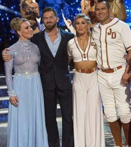 The two couples who were already elimated on the very first show of the season!: (L-R) Jamie Anderson (with the good natural boobs)  with Artem Chigvintsev, and Emma Slater with Johnny Damon.