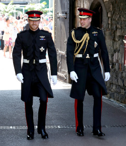 Prince Harry and Prince William entering the wedding chapel.